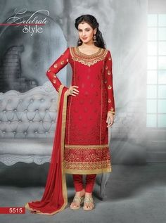 Rich Red Embroidery Pure Georgette Semi Stitched Designer Straight Suit