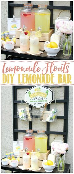 Lemonade float bar. Easy to make and a delicious summer treat! Click through for more tasty summer drink recipes. / #lemonade #lemonadefloats #summerdrinks #drinkrecipes Lemonade Bar, Lemonade Cocktail, Easy Summer Cocktails, Summer Drink Recipes, Gin And Soda, Veggetti Recipes, Peach Ice Tea, Tart Taste, Coconut Smoothie