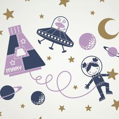 Kids Outer Space Nursery Decal: Girl Space Walk Personalized