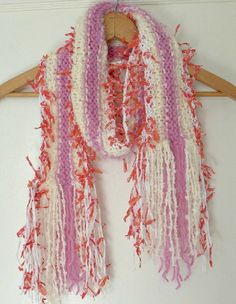 Chunky Knit Scarf / Candy Stripe / Handmade scarf / by Dreamfiber, $25.00