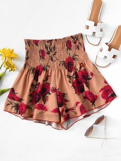 Buy Multicolor Shirred Drop Waist Wide Leg Shorts for Women at Fashiontage. Edgy Outfits, Short Outfits, Pretty Outfits, Summer Outfits, Cute Outfits, Older Women Fashion, Girls Fashion Clothes, Teen Fashion Outfits, Clothes For Women