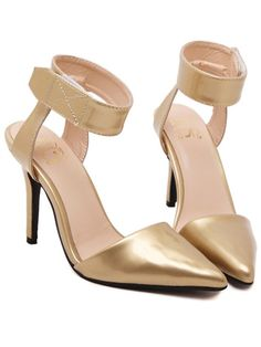 Gold Point Toe Ankle Cuff High Heeled Pumps