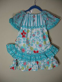 Girls Dress Peasant Style Size 3 Blue Red by SouthernSeamsKids, $58.00