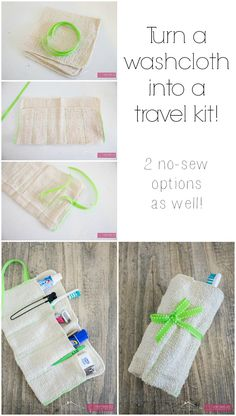 Turn a washcloth into a travel kit! A simple sewing project to organize your bathroom items.