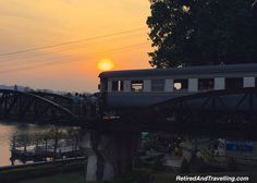 Sunset on the bridge over River Kwai in Thailand tempted us!