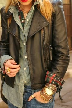 layering with a leather jacket, chambray shirt and plaid | Gloss Fashionista