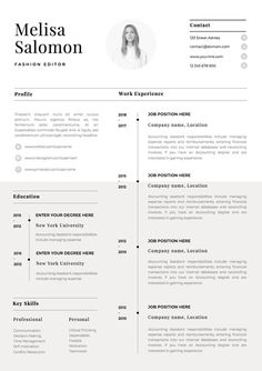 One Page Resume Template With Photo For Word Pages CV Singe Professional Simple