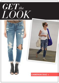 Get Cameron Diaz's ripped jeans on SHEfinds.com.