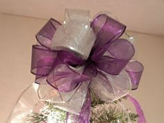 Large Sheer Purple and Silver  Christmas Tree by creativelycarole