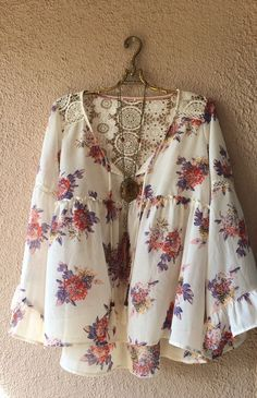 Image of Romantic Resort 2017 floral gypsy peasant blouse