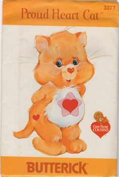 Butterick 3377 1980s Soft Toy PROUD HEART CAT Care Bear Cousin vintage sewing pattern by mbchills