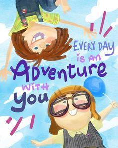 Adventure wherever together forever. Disney Up, Disney Pixar, Cute Disney, Disney And Dreamworks, Disney Magic, Walt Disney, Disney Cards, Up Pixar, Pixar Movies