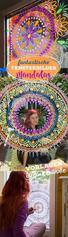 MANDALA aus der Vorlagenmappe Sonnentage & Blütenträume von Bine Brändle: Kunstvolle Mandalas kinderleicht mit abwischbaren Kreidemarkern auf die Fenster malen!
