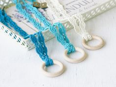 Teething ring necklace Nursing jewelry Babywearing Baby shower gift for mom Natural cotton crochet lace and wooden ring Turquoise Teal Ivory