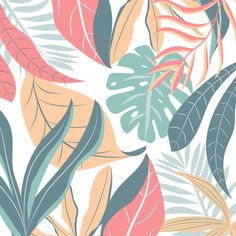 Pastel Background With Colorful Tropical Leaves Cute Wallpapers, Wallpaper Backgrounds, Floral Backgrounds, Floral Wallpapers, Wallpaper Designs, Poster Background Design, Vector Background, Background Designs, Aesthetic Backgrounds