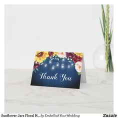 Sunflower Jars Floral Navy Blue Bridal Shower Thank You Card Thank You Card Size, Custom Thank You Cards, Wedding Graphics, Watercolor Sunflower, Wedding Store, Blue Bridal, Mason Jar Lighting, Jar Lights, Wedding Matches