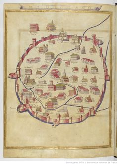 """The city of Milan"", is the miniature 'Ptolemy's Geography' the Bibliothèque nationale de France, Paris. Vintage Maps, Antique Maps, Milan Map, Medieval Life, Old Maps, Map Design, City Maps, Art Graphique, Historical Maps"