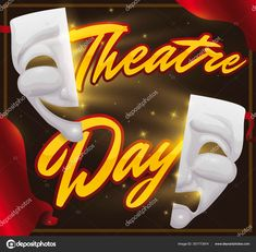 Frame with golden message, traditional comedy and tragedy mask with magical light and glows promoting a theatrical night during Theatre Day. World Theatre Day, Melting Chocolate, Cake Chocolate, Comedy Tragedy Masks, Glow, Neon Signs, Messages, Activities, Traditional