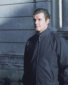 A rare shot of Roger Moore, whilst filming, 'The Saint.'