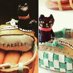 ミニチュア猫 レザー 手縫い バッグに潜んでいた猫