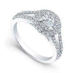 Double halo split shank pre-set engagement ring with an Atia 81 cut round center diamond, only $3,495. Exclusively at Wedding Day Diamonds