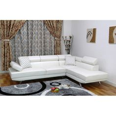 UFE Sofia White Faux Leather Modern Living Room Right Facing Chaise Sectional Sofa Set 2 Piece Sectional Sofa, Reclining Sectional, Chaise Sofa, Sofa Set, Couch, Furniture Deals, Sofa Furniture, Living Room Furniture, Furniture Shopping
