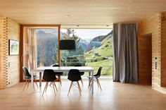 "Oberhus-Unterhus in Leis by Zumthor: ""there is a special feeling living in a room made of solid wood, not just merely clad in wood, very different from living in a house made of stone, glass or steel."""