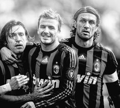 Milan teammates Andrea Pirlo, David Beckham & Paolo Maldini