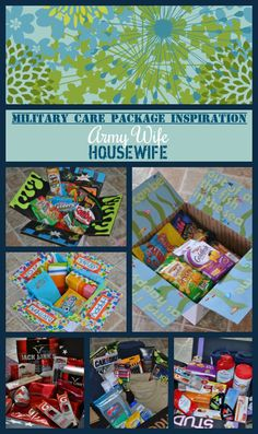 Military Care Package Inspiration - Army Wife Housewife... hopefully we wont be needing this for awhile, but it is always good to have on hand