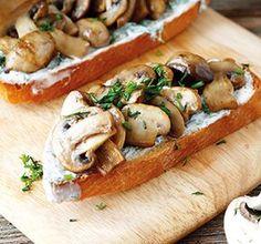 Bruschetta Fried Mushrooms Food Closeup Stock Photo (Edit Now) 214687069 Tapas Recipes, Healthy Recipes, Great Recipes, Healthy Snacks, Vegetarian Recipes, Tostadas, Good Food, Yummy Food, Mushroom Recipes