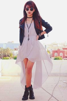This whole outfit - Fish tale dress, gothic boots, leather jacket, sunglasses, headband, etc. #street #style #streetstyle #fashion #street_style
