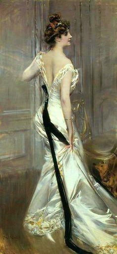Giovanni Boldini (1842-1931) - La Fascia Nera. Oil on Canvas. Circa 1905.