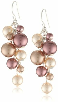 Colored Simulated Pearl Cluster Drop Earrings - http://www.earringsandnecklacejewelry.com/colored-simulated-pearl-cluster-drop-earrings/