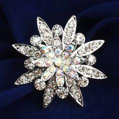 Bridal Silver Crystal Rhinestone Brooch