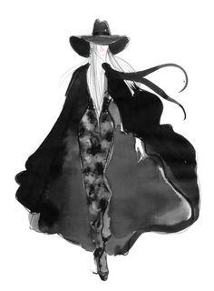 YSL illustration in Elle Magazine by Lovisa Burfitt, 2013