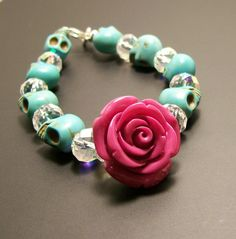 Sugar Skull Jewelry Day of the Dead Pink Rose and by VivaGailBeads