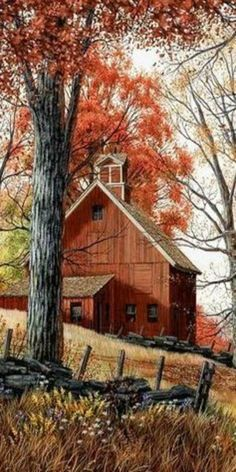 American countryside in autumn Country Barns, Country Life, Barn Pictures, Autumn Scenes, Country Scenes, Red Barns, Rustic Barn, Farm Life, Belle Photo