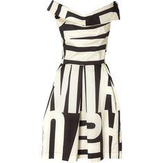 Vivienne Westwood Anglomania Halton 1970 Print Cotton Dress (1.100 BRL) ❤ liked on Polyvore featuring dresses, vestidos, short dresses, black, draped dress, black boat neck dress, full skirt, black boatneck dress and print dress