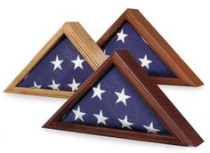 Urns Northwest  - Capitol Burial Flag Case for 3' x 5' Flags, $109.00 (http://urnsnw.com/capitol-burial-flag-case-for-3-x-5-flags/). For smaller, 3x5 American flags.