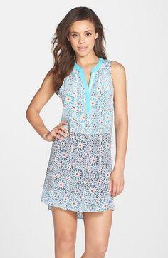 Charlie Jade Print Split Neck Shift Dress available at #Nordstrom