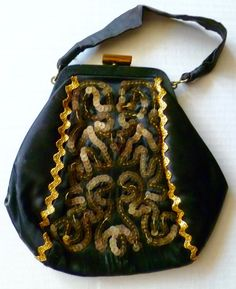 58c59b6758e 1940s black silk evening bag with gold rickrack and sequins Vintage Handbags,  Vintage Purses,