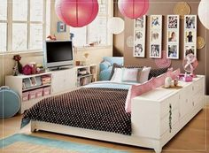 Beauty Good Girl Bedroom Ideas: Fancy Girl Bedroom Designs With Modern Pendant Lighting Also Ikea Tv Cabinet And Funky Family Photo Frames Built In Bookcases ~ sagatic.com Bedroom Design Inspiration
