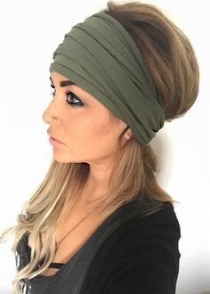 FREE SHIPPING Olive Scrunch Headband Extra Wide by pebbyforevee