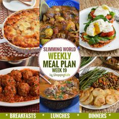 Slimming Eats Weekly Meal Plan - Week 19 - Slimming World recipes taking the work out of planning so you can just cooked and enjoy the food.l slimming world diet plan Extra Easy Slimming World, Slimming World Pasta Bake, Slimming World Recipes Syn Free, Slimming Eats, Menu Ww, Sw Meals, Freezer Meals, Cheesecake, Cooking Recipes
