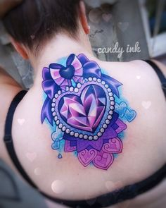 #sweet #crystal #heart #tattoo #diamond #crystal #mandala #hearts #bow #coverup #candy