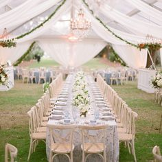 Tented outdoor wedding reception with long kings table and draping above. Legare Waring House by A Charleston Bride Marquee Wedding, Tent Wedding, Wedding Art, Elegant Wedding, Floral Wedding, Wedding Ceremony, Our Wedding, Paris Wedding, Wedding Ideas