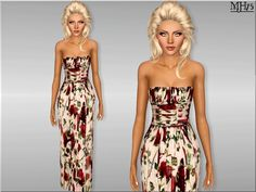 -1 floral gown , with beautiful roses. Team with heels and cute clutch for a chic look. Found in TSR Category 'Sims 3 Female Clothing'