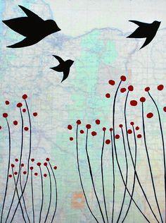 Oregon & Birds Art Print