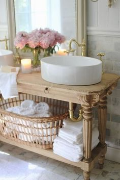 Bathroom perfection. A mix of wood and white. Simply beautiful #shabbychicbathroomsvanity