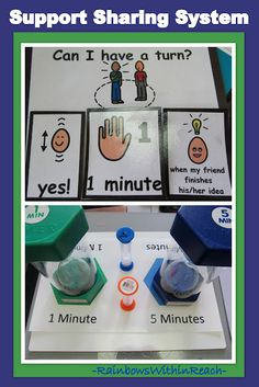 """Kindness, Generosity + Emotional Intelligencea post from Pre-K and K Sharing - teach children how to ask for a turn and offer some acceptable responses (I would add """"When I'm finshed."""" as one of the choices.)"""